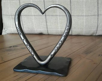 A Personalized Love Heart T Lights~ 6th Wedding Anniversary ~ Blacksmith Made~ ~Dad~ Birthday~ Iron Wedding Favour~ him her~Love Iron Gift