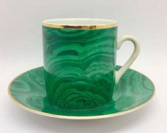 Neiman Marcus Japan Green Malachite Porcelain Demitasse Cup & Saucer