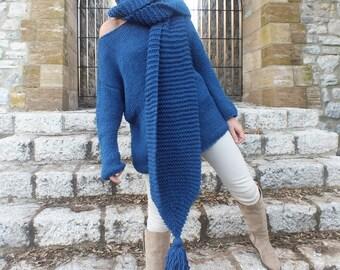 Denim blue sweater/ Handknit  sweater /  Soft wool sweater /Pullover