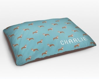 Personalized Brown Pitbull Dog Bed, Dog Beds, Large Pet Bed, Cute Pit bull Dog Duvet, Custom Name Dog Bed Pillow, Dog Gifts for dog