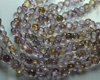7.5 Inches, Super Quality Ametrin Faceted Onion Briolettes, Size 8-8.5mm