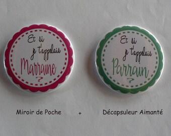 Duo Cadeau Parrain Marraine en Or Miroir de poche et Décapsuleur Magnétique Confettis.