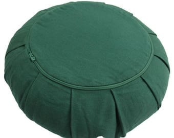 Forest Green Zafu Cushion COVER - Cotton - Meditation /Yoga Practice Meditation Cushion Cover