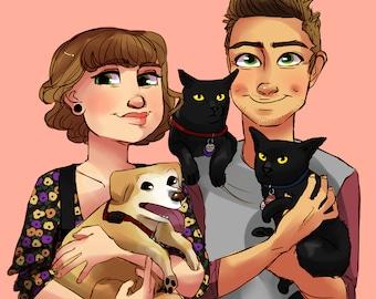 Custom Couple Portrait, Digital Illustration, Cartoon Drawing Pets Dogs Cats, Digital Sketch