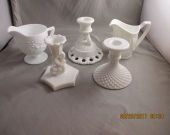 Lof of vintage MILK GLASS Candle Holders and Cream pitchers (5)