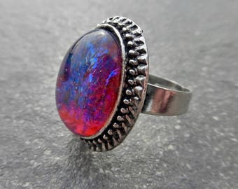 Antique Silver Statement Ring With Dragons Breath Cabochon - Fire Opal - Red - Blue - Fantasy - Role Play - Cosplay - Costume Dress Ring