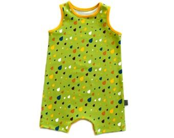 Baby Shorts Romper - Unisex - SUMMER RAIN DROPS - organic jersey knit fabric by Lillestoff - crotch snaps - Green w/ Colorful Rain drops