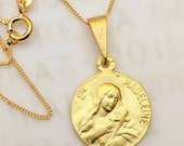 Necklace - Saint Mary Magdalene & Her Crucifix - 18K Gold Vermeil + 18 inch Gold Vermeil Chain