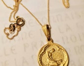 Necklace - Saint Mary Magdalene 18K Gold Medal - 20mm + 18 inch 18K Gold Vermeil Italian Chain
