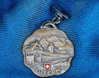 enameled Luzern fob w/ Saint Christopher on reverse