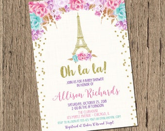 Paris baby shower invitation, oh la la, french baby shower floral eiffel tower Paris themed girl baby shower printable invite, pink and gold