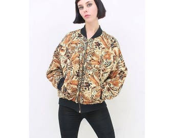 Vintage - 90's - Leopard - Tiger - BIG CAT - Animal Print - Bomber - Jacket - AUS 10 12 14 - S M L - Small Medium Large