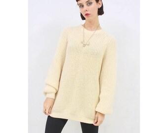 Vintage - 80's - Retro - MINIMALIST - Handmade - Neutral - Cream - WOOL - Knit - Jumper - Sweater - Pullover - M - L - XL