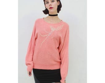 Vintage- 80's - Retro - CORAL - PINK - Sequin Design - Batwing Sleeve - Knit - Jumper - Sweater - AUS 10 12 - S M - Small Medium