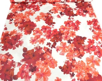 Fabric Cotton Jersey flowers print red orange white dress fabric blouses (15,80 EUR / meter)