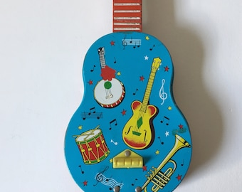 Vintage Chad Valley toy tin guitar or ukelele, eclectic decor, turquoise and red metal toy instrument, 1960's toy