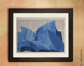 SALE-SHIPS Aug 22- Walt Disney Concert Hall Dictionary Art Print, Los Angeles Ca Architecture Frank Gehry Upcycled  Wall Art da139