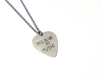 Guitar necklace, silver necklace, pick necklace, gift for him, guitar pick, initial necklace, necklace, mens necklace, personalized necklace