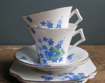 Vintage English cups, saucers and tea plates, Colclough china, Bone china, 1930s, forget me not, blue and white