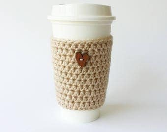 Coffee Cozy - Crochet Coffee Cup Sleeve  - To Go Cup Sleeve - Reusable Coffee Sleeve - Heart Cozy - Beige Cozy - Valentines Gift