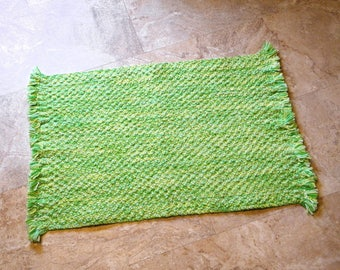 Lime Green Hand Made Braided Bathroom Or Kitchen Accent Rug