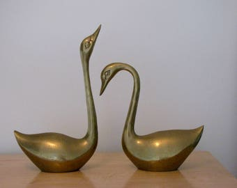 Vintage Large Brass Swan Figurines - Set of Two (2) - 15 inches tall
