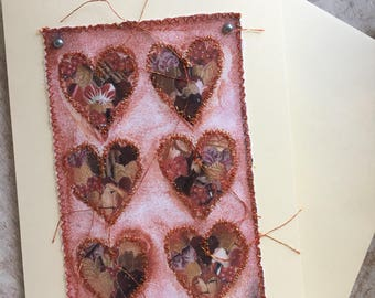 Fiddlestitch Red Heart Love Card, Stitched Love Heart Greetings Card.
