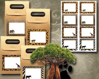 Animal Print Labels Instant Download Printable Labels