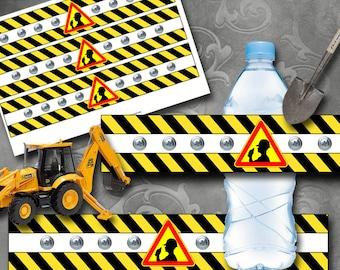 Construction Bottle Labels Instant Download Printable Bottle Labels