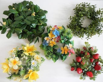 Vintage Candle Ring Wreath - centerpiece, CHOICE of 1 - 1970s-1980s - plastic, ivy, strawberries, floral rings, retro home decor