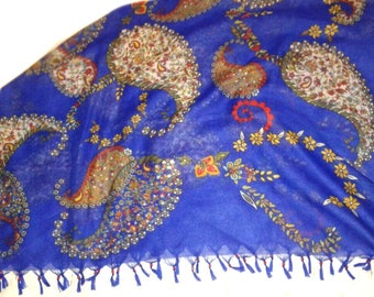 Saxe blue thin cotton hand beaded scarf /table runner