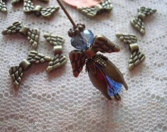 Promo! 30 Bronze Angel Wings. 7x14x2mm Make Your Own Angel Earrings. Adorable Christmas Festive Dangles or Charms.  ~USPS Ship Rates/ Oregon