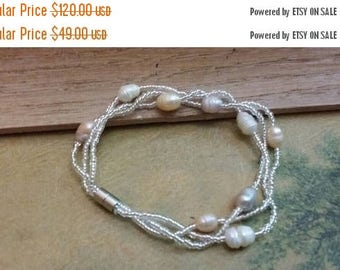 "Holiday SALE 85 % OFF Pearl Chips Bracelet Gemstone  7 3/8 "" Inches .935 Sterling  Silver SALE"