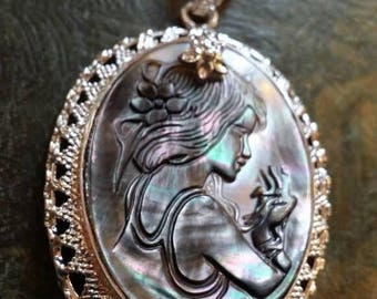Holiday SALE 85 % OFF Abalone  CARVED lady .925 Sterling Silver  Cameo Necklace Chain Pendant