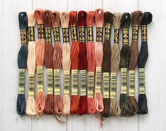 DMC Floss, Colors 3768-3799, 6-Strand Cotton Thread for Embroidery, Cross Stitch and Needle Arts