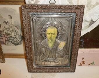 Beautiful Antique Time Worn Handmade Greek Orthodox Saint Stylianos Icon 1920's-1930's