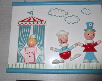 Vintage 1960's Blue Nursery IRMI Wall Hanging - Going to the Circus