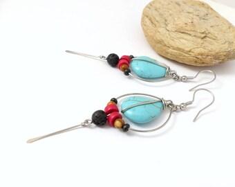 Boucles d 'oreilles d'inspiration ethnique tribale, turquoise, rouge, noir beige, pierre et acier inoxydable (BO23)