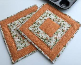 Handmade Potholders Tangerine Insulated Patchwork Hot Pads Orange Quilted Hot Pads