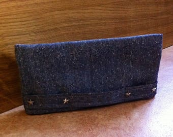Navy Blue tweed bag with hand