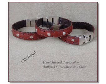 Leather Wrist Bands with Silver Bead Inlay