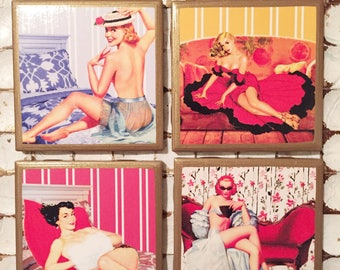 COASTERS!! Retro Pinup coasters with gold trim