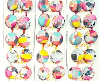Button hair ties - 'KAPOW' (Laura Blythman design) Jumbo size