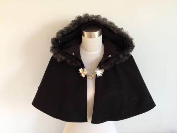 Hooded Caplet with Gotland Sheepskin Trim