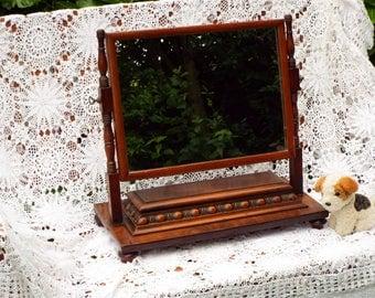 Antique Dressing Table Mirror Vintage Tilt Dresser Mirror Mahogany Framed Mirror Swing Mirror Jewellery box Jewelry box M342