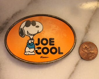 Orange Snoopy Joe Cool Belt Buckle 1971 Aviva Enterprises, Inc.