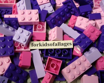 35 Pink and Purple Lego Bricks and Plates - Light n Dark Pink, Dark Purple, Light Lavender - Bulk Parts & Pieces Lot