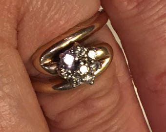 Diamond Ring 14K Yellow Gold .48Ct Cluster Engagement Ring~Beautiful! size 7