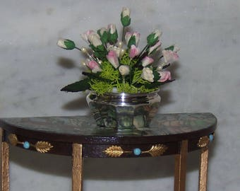 Gorgeous Large Floral Arrangement for 1:12th Dollhouse.  Greens and Roses in Shades of Muted Pink and Ivory. Sterling Silver Bowl.