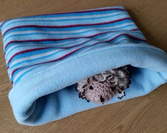 READY TO SHIP! Blue Stripes Fleece Snuggle Sack for Hedgehogs/Rats/Guinea Pigs/Rabbits/Sugar Gliders